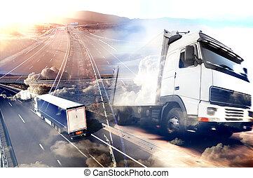 國際, 摘要設計, 高速公路, 發貨