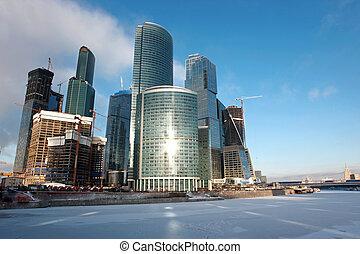 國際, 看法, 城市, 河, 結冰, 美麗, russia, 中心, moskva, 事務, 摩天樓, 莫斯科, 著名