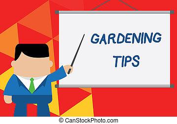 園芸, 指すこと, 写真, tips., 適切, 地位, idea., プロジェクター, 執筆, テキスト, 概念, アプローチ, ビジネス, 提示, 手, 前部, 植物, 穀物, プロジェクト, 練習する, 成長する, ビジネスマン
