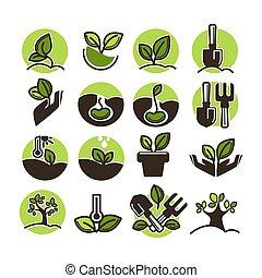 園芸, 植えつけ, セット, 園芸, アイコン, 木, ベクトル, 緑
