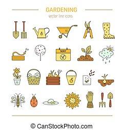 園藝, 矢量, 線, 圖象