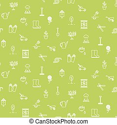 園藝, 線, 圖象, 矢量, seamless, pattern.