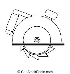 圓形的鋸子, 圖象, 在, outline, 風格, 被隔离, 在懷特上, 背景。, 建造, 以及, 修理, 符號, 股票, 矢量, illustration.