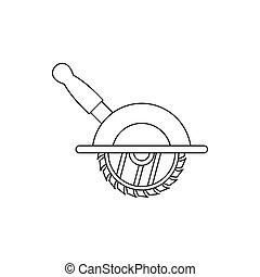 圓形的鋸子, 圖象, outline, 風格