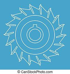 圓形的鋸子, 盤, 圖象, outline, 風格