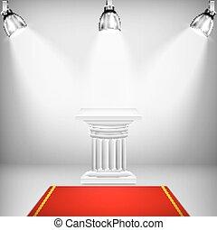 圓柱, 愛奧尼亞, 照明, 紅的地毯