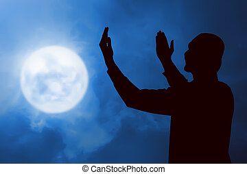 圖像, ......的, 黑色半面畫像, 人, 祈禱