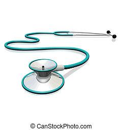 圖像, ......的, a, 聽診器, 被隔离, 上, a, 白色, 背景。