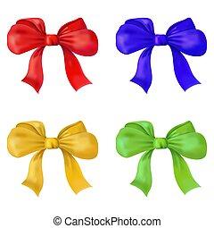 圖像, 紅色, 黃色, 被隔离, bow., 集合, 禮物, 矢量, 綠色, 背景。, illustration., 藍色, 白色