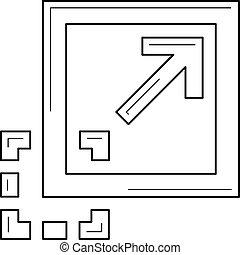 圖像, 線, icon., 最大化