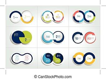 圖形, 集合, 元素, mega, 二, 圖表, 步驟, 環繞, 輪, scheme., design.