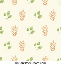 圖案, 光, seamless, 秋天, 秋天, 震動, 產品, 織品, scrapbooking, 花園, 風格, 矢量, giftwrap., 健康, 桔子樹葉, 奶油, design., 木刻, 健康, 背景。, 綠色, 偉大