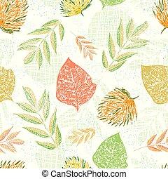 圖案, 光, seamless, 秋天, textured, 花園, 包裝, 風格, 矢量, 健康, 織品, 美麗, 桔子樹葉, 斑點, 藍色, design., 葉子, 木刻, 背景。, 綠色, 分層堆積, 偉大