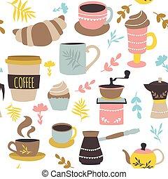 圖案, 咖啡, 糕點, seamless