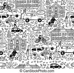 圖案, 房子, 汽車, 白色, doodles, sity, 人們, seamless, 街道, 黑色