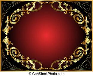 圖案, 框架, 黑色, 紅色, 金
