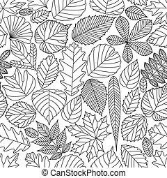 圖案, 樹, seamless, leaves.