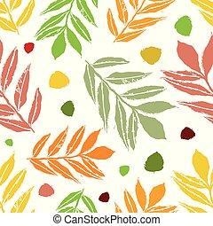 圖案, 樺樹, seamless, 秋天, 包裝, 花園, 織品, 包裝, 風格, 快樂, 矢量, 灰, 文具, 健康, 桔子樹葉, 山, design., 木刻, 背景。, 綠色白色, 偉大