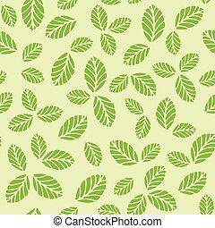 圖案, 離開, 綠色, seamless, 草莓