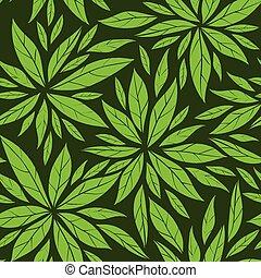 圖案, 離開, 綠色, seamless