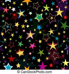 圖案, 黑色, seamless, 星