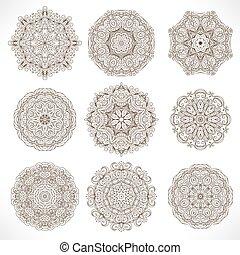 圖案, mandalas., 集合, 裝飾品, 輪