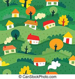 圖案, seamless, 村莊