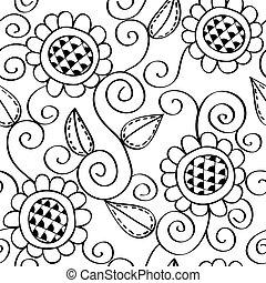 圖案, seamless, 植物, 手, 畫