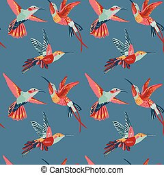圖案, -, seamless, 矢量, retro, 背景, 蜂鳥