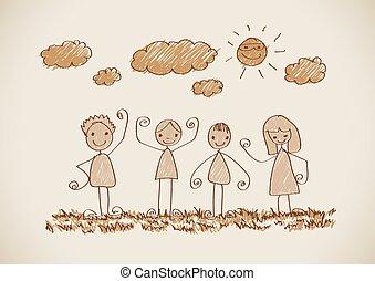 圖片, 孩子, 圖畫, 家庭, 愉快