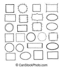 圖片, 略述, 廣場, 集合, frames., 心不在焉地亂寫亂畫, 框架, 線, 手, 矢量, 葡萄酒, 畫, 邊境, 輪, 空