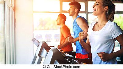 圖片, ......的, 人們, 跑, 上, 單調的工作, 在, 體操