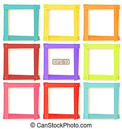 圖片, 集合, 木制, 框架, 顏色, 9