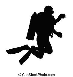 圖片, 黑色半面畫像, 拿, 水下呼吸器, 水, 在下面, 運動, 潛水者, ?