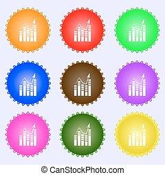 圖表, 圖象, 徵候。, a, 集合, ......的, 九, 不同, 上色, labels., 矢量