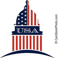 圖表, 州議會大廈, 美國政府, 矢量, 設計, 標識語