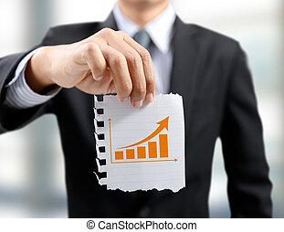 圖表, 概念, 上升, 商人, 禮物, 成長, 事務