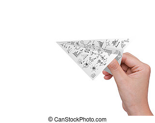 圖表, 被隔离, 飛機, 手, 紙, 白色, 握住