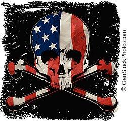 圖表, 襯衫, 頭骨, 旗, 設計, t