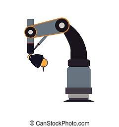圖表, 金屬, 机器人手臂, 矢量, icon., 技術, 機器人