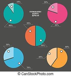 圖表, 集合, 餅, 元素,  infographics