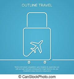 圖象, 飛機, 以及, suitcase., the, 概念, ......的, 旅行, 以及, vacation., outline., minimal.