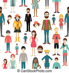 圖。, 背景。, 人們, 套間, seamless, pattern.