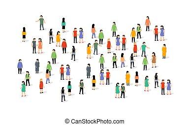 團体一起, 隊, 矢量, 网絡, 通訊, 人, 人群, 大, 人們, 社會
