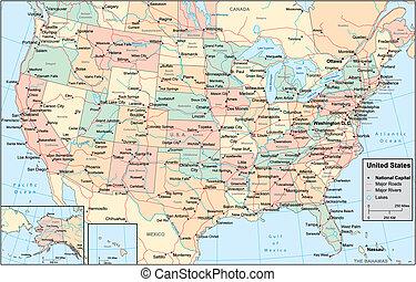 團結, 地圖, 美國, 國家