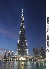 團結, khalifa, -, burj, arab, 酋長國, 摩天樓, 世界, 最高, night., 迪拜