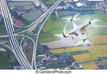 土地輸送機関, 写真撮影, 無人機, 背景, 航空写真, 上に, 光景
