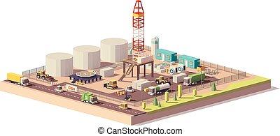 土地, オイル, ガス, poly, ベクトル, 穿孔機, 低い