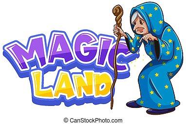 土地, デザイン, マジック, 壷, 古い, 単語, 魔法使い