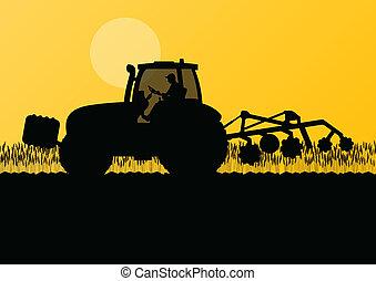 土地, トラクター, 国, イラスト, フィールド, ベクトル, 穀粒, 耕作, 背景, 耕される, 農業, 風景